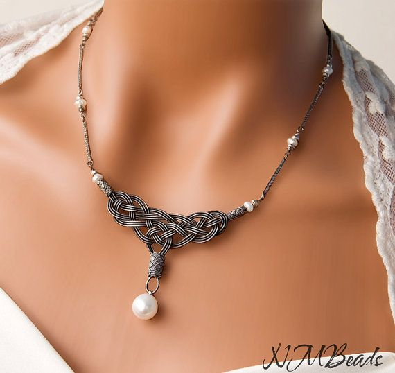 Pure Silver Wired Celtic Knot Pendant Necklace by NMBeadsJewelry