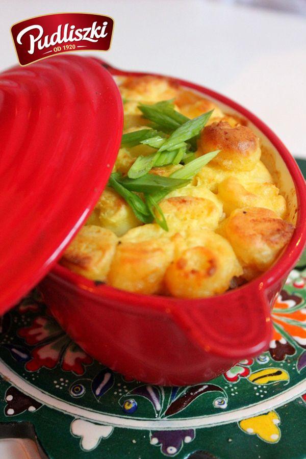 Zapiekanka z sosem włoskim pod pierzynką ziemniaczaną. #sos #ziemniaki #pudliszki #przepis #obiad
