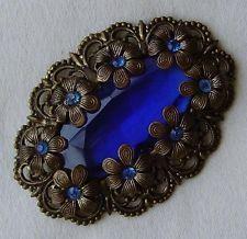 винтажный чешское синий стеклянный камень серьгами металл цветочная брошь