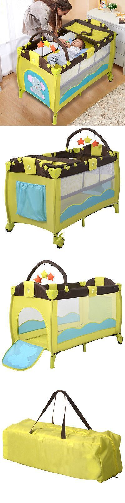 baby kid stuff: New Green Baby Crib Playpen Playard Pack Travel Infant Bassinet Bed Foldable BUY IT NOW ONLY: $52.99
