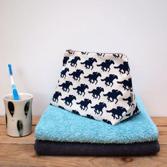 Racehorse Print Wash Bag by Megan Alice England.  Just 1 left.