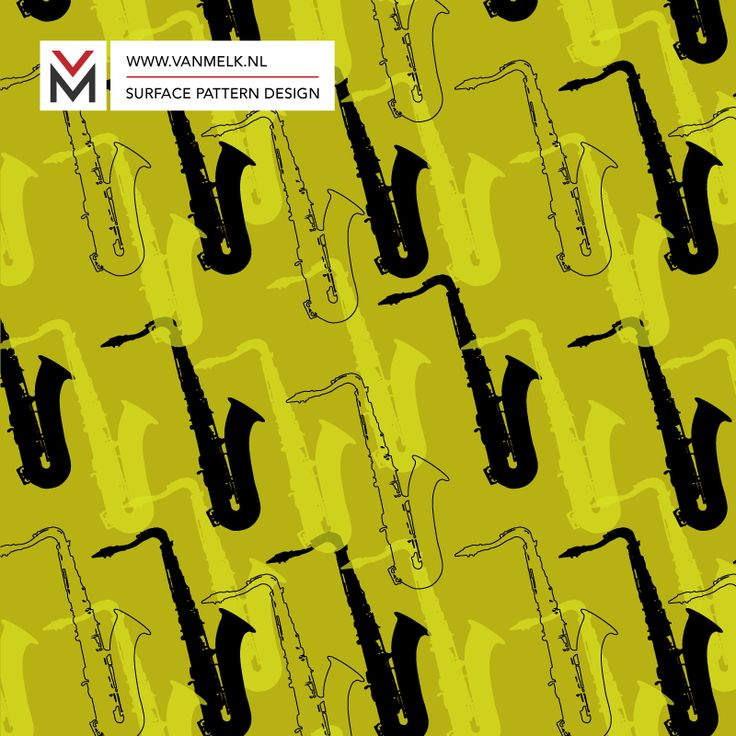 Saxophone surface pattern, wallpaper, wrapping, interior decoration