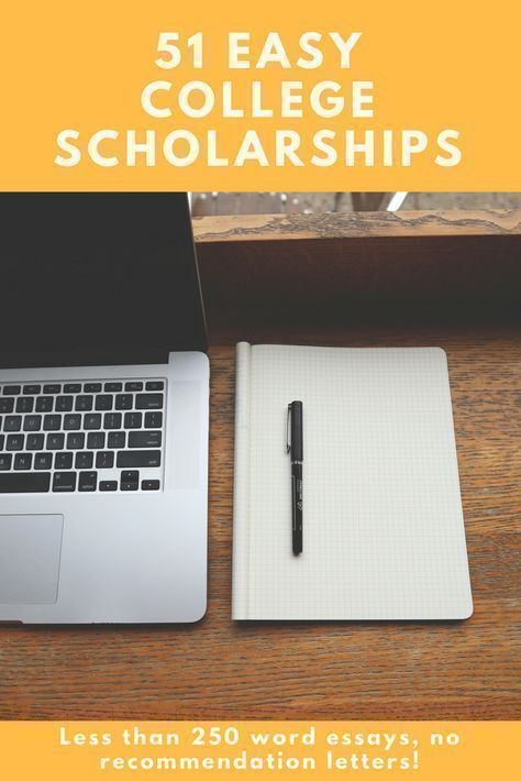 51 Easy College #scholarships to Apply For - Quesbook.com: Love this list of 51 crazy easy scholarships! Essays are less than 250 words (if any required) and there are no recommendation letters necessary!! I can apply for ALL of these in the same amount of time it would take me to apply for just a FEW others!