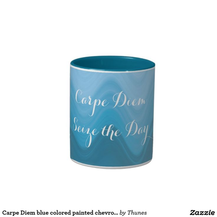 Carpe Diem blue colored painted chevron pattern Two-Tone Coffee Mug