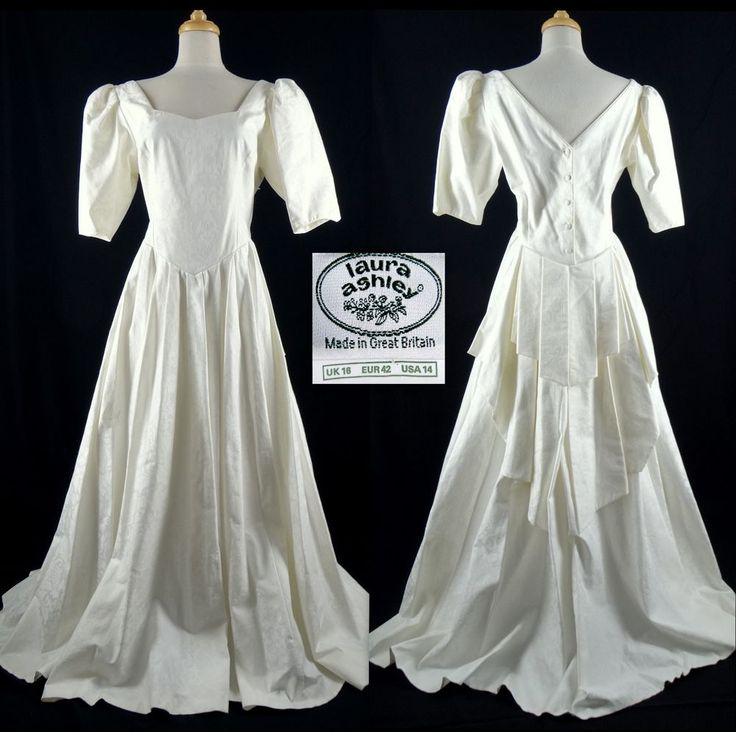 Vtg Laura Ashley Wedding Dress Bridal Gown 14 Us Off White Cotton Fl Damask
