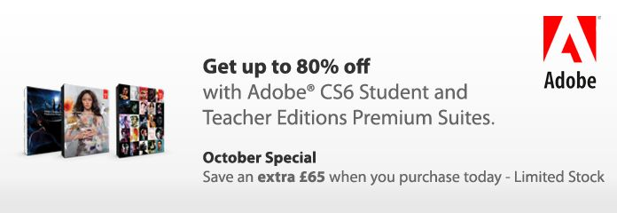 Students can now purchase these Adobe products with an EXTRA £65 off the already discounted student price with major discounts on:    - Adobe Master Collection CS6 now only £469.95    - Adobe Design & Web Premium now only £249.95    - Adobe Production Premium CS6 now only £249.95    www.software4students.co.uk