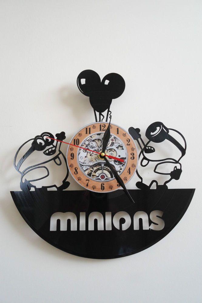 Minions (2) vinyl record wall clock