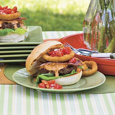 Dixie Beef Burgers                                         We loved the slightly sweet Chowchow Spread and the tangy Banana Pepper Spread on these burgers. Make both and let guests                                           choose.The secret to Dixie Beef Burgers With Chowchow Spread is grilled country ham slices. The saltiness is amazing with the sweeter                                           flavors of Chowchow Spread and honeyed grape tomatoes.