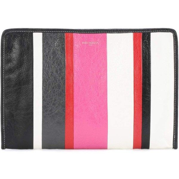 Balenciaga Bazar Striped Leather Pouch ($585) ❤ liked on Polyvore featuring bags, handbags, clutches, clutch bags, multicoloured, leather bags, genuine leather bags, multicolor bag, multi coloured bags and balenciaga pouch
