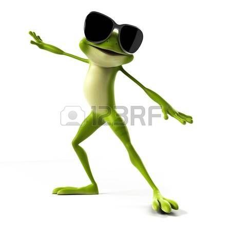 rana cartoon: 3d ha reso l'illustrazione di una rana divertente