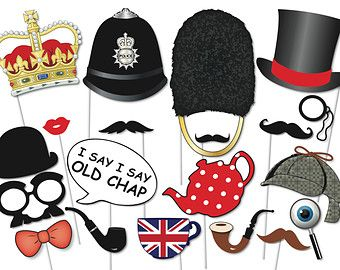 british photo booth party props set 20 piece printable english royal wedding photobooth props instant download