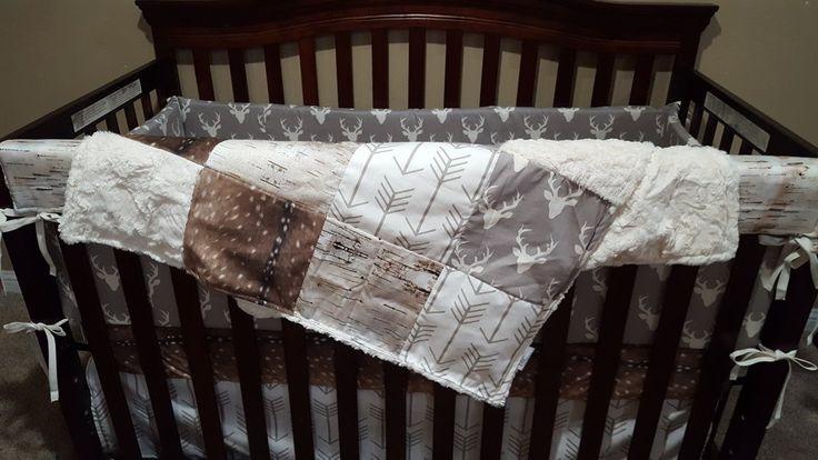 Woodland Crib Bedding- Buck, Deer Skin Minky, White Tan Arrow, Ivory Crushed Minky, and Birch Crib Bedding Ensemble