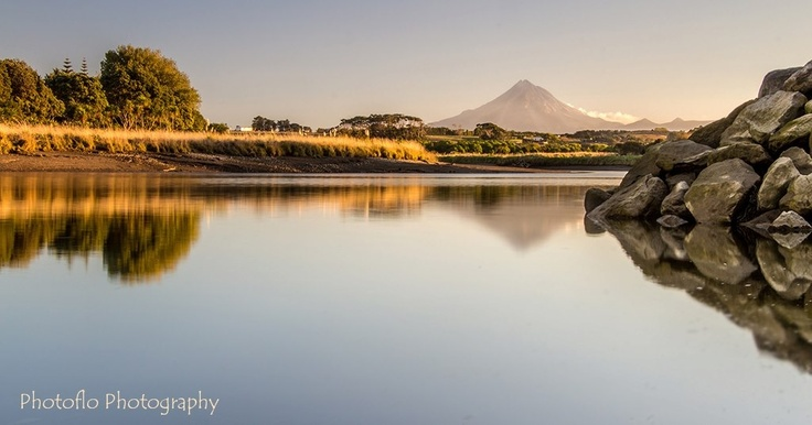 View from the Waitara river at sunset, looking back toward Mt Taranaki