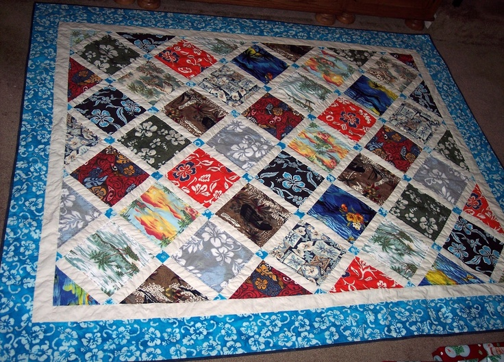 sewingly along...: Hawaiian Getaway Quilt made with recycled Hawaiian shirts