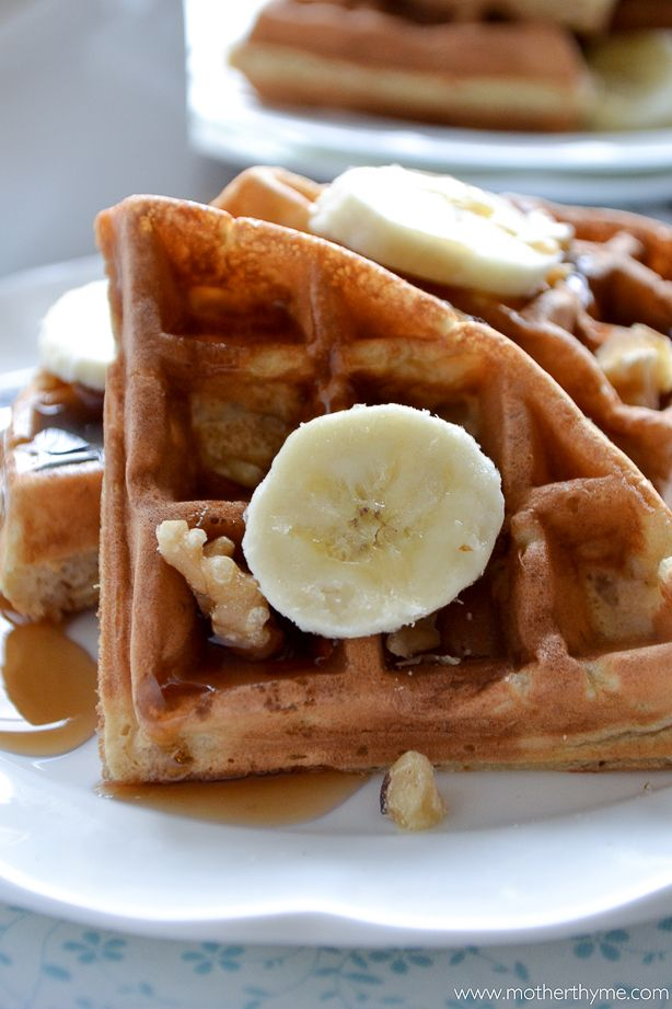 Banana Bread Waffles | Mother Thyme K: these are super yummy. Yay Beck for finding the recipe. But we did not need syrup or anything.
