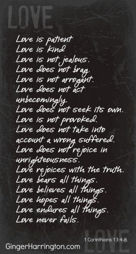 Attributes of Agape Love described in 1 Corinthians 13:4-8