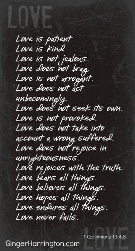 Attributes of Agape Love described in 1 Corinthians 13:4-8
