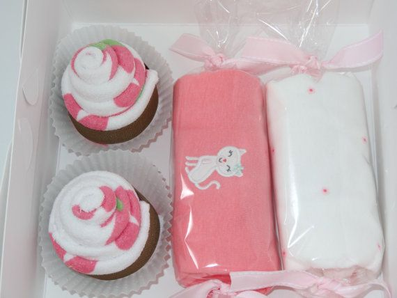 Baby Girl Gift Ideas: Baby Girl Gift Washcloth Cupcakes Box Unique Baby Gift