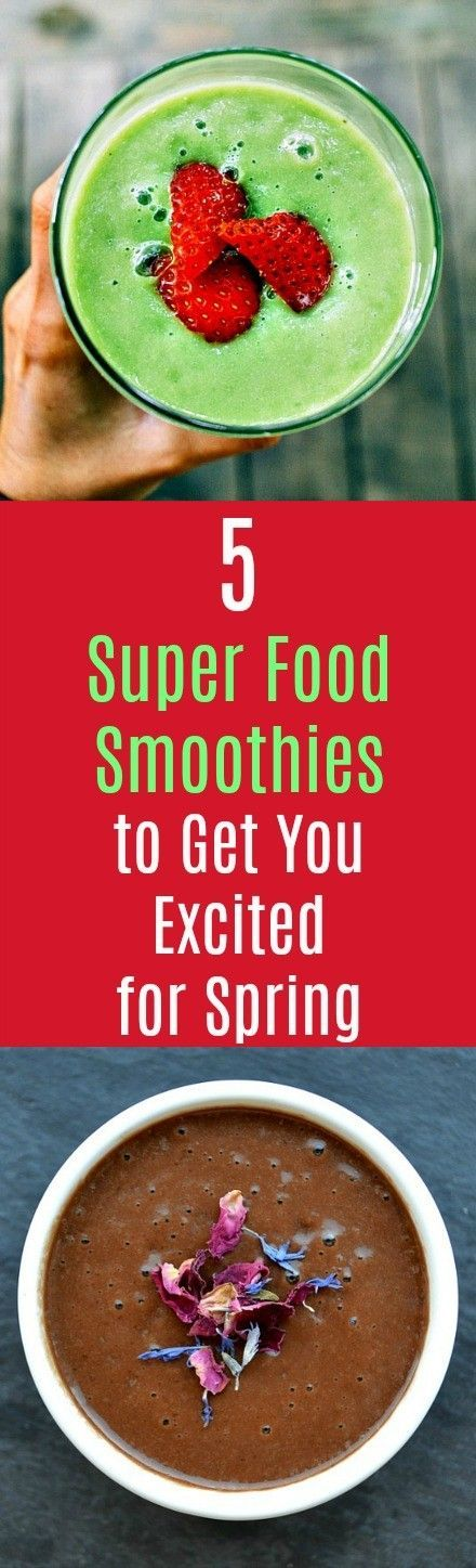 5 Superfood Smoothies to Get You Excited for Spring: Make your own superfood smoothies and avoid those $10 smoothies at the juice bar, with goodness knows what else inside. Including super foods, like blueberries, maca and chia seeds, in your smoothie recipes will help you make the most of your daily caloric and nutrient intake. #smoothies #superfoods #nutrients #nutrition #energy #healthyliving
