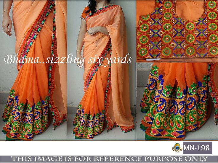 Price @2800.00 INR  Colour : Orange        Fabric : Saree Georgette & Blouse Bangalori Silk       Work : Fancy Thread Work & Mirror Work