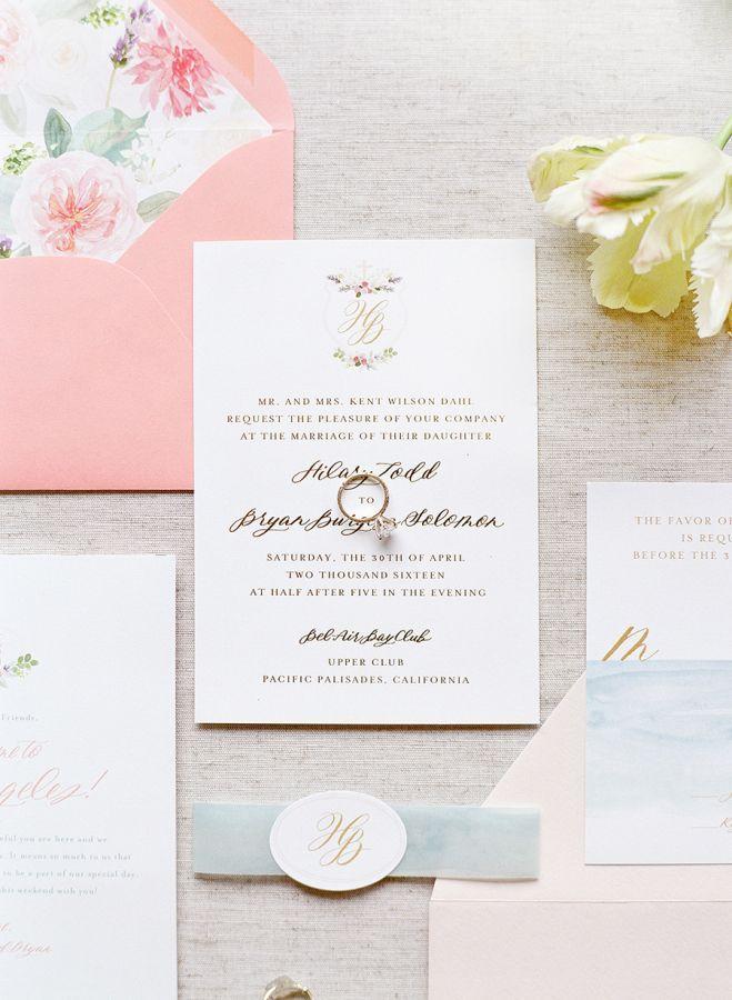Pink elegant wedding invitation suite: http://www.stylemepretty.com/2017/01/26/pink-black-tie-wedding/ Photography: Lacie Hansen - http://laciehansen.com/