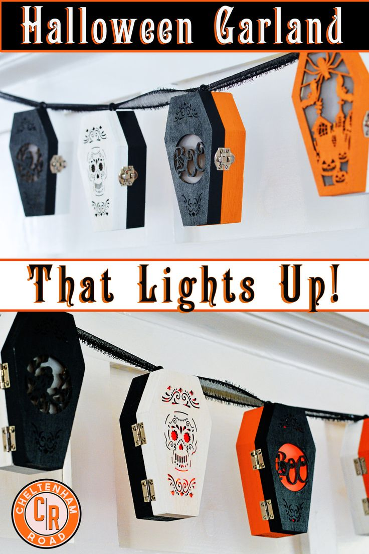 Easy Halloween Craft.  Make a fun Halloween  Garland using inexpensive supplies from Michaels Crafts Store | cheltenhamroad
