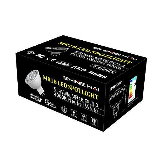 SHINE HAI® GU5.3 MR16 LED Bulbs 12V, 50W Halogen Bulbs Equivalent, LED 5.5W Daylight White LED Spotlight, 35 Degree Beam Angle, Non-Dimmable, LED Light Bulbs, 6-Pack: Amazon.co.uk: Lighting
