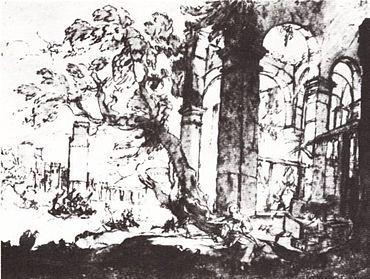 esta imagen es de un cuadro realizado a pluma por Claudio de Lorena,realizado en 1630.