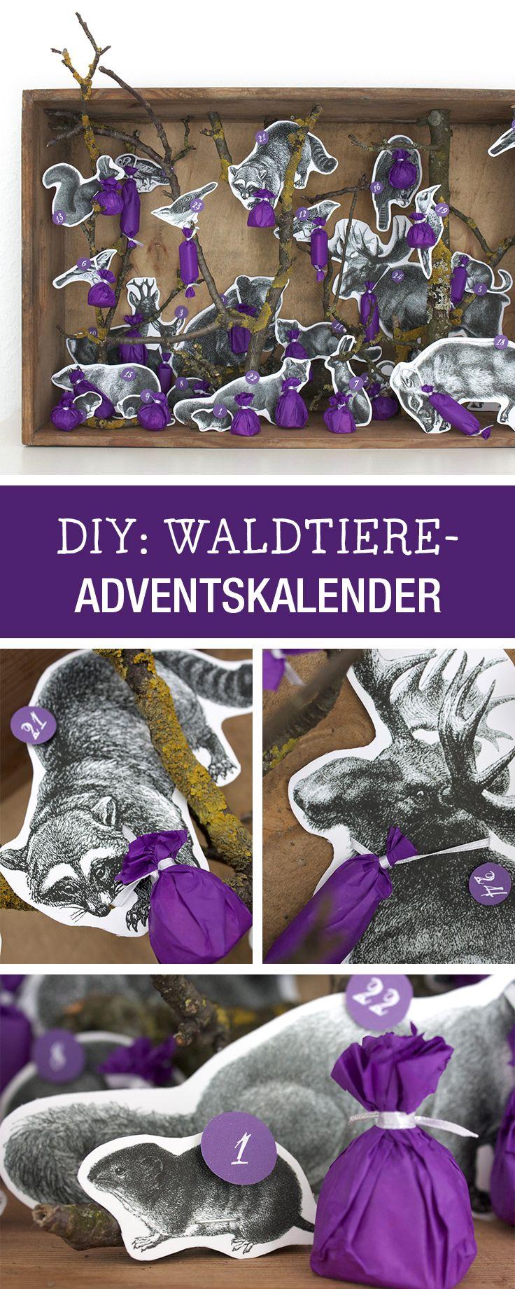 Ein besonderer Adventskalender aus Waldtieren, Diorama / paper advents calendar with animals via DaWanda.com