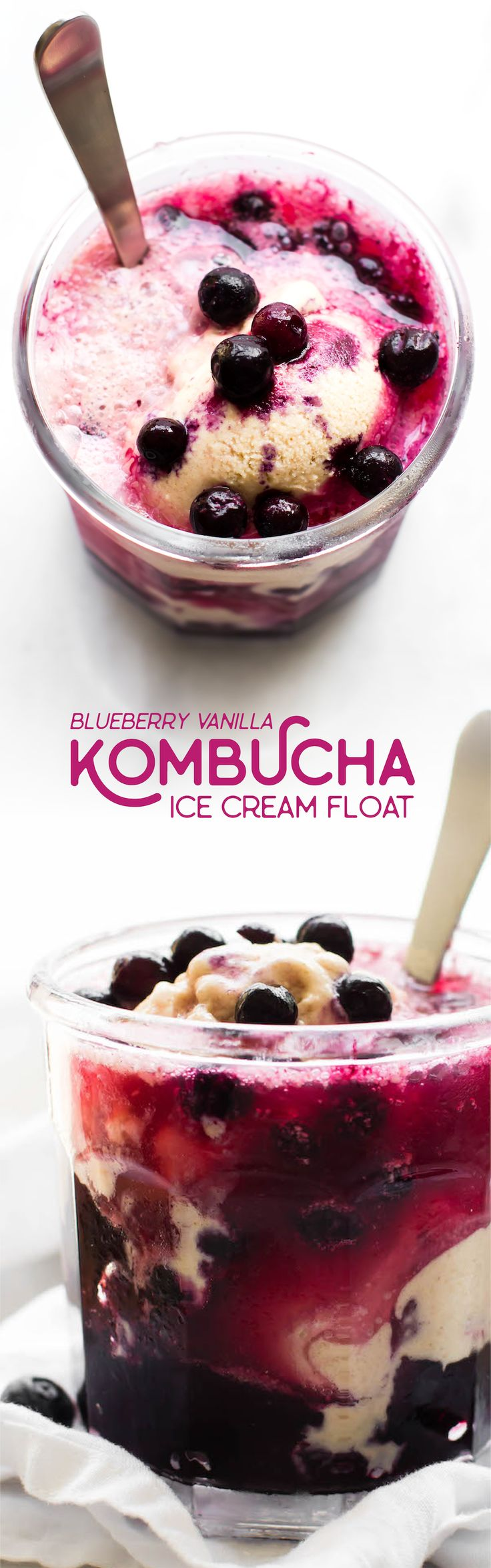 A swirling sweet glass of creamy ice cream and fizzy fruity kombucha–this Kombucha Ice Cream Float is an easy summertime treat with endless variations!
