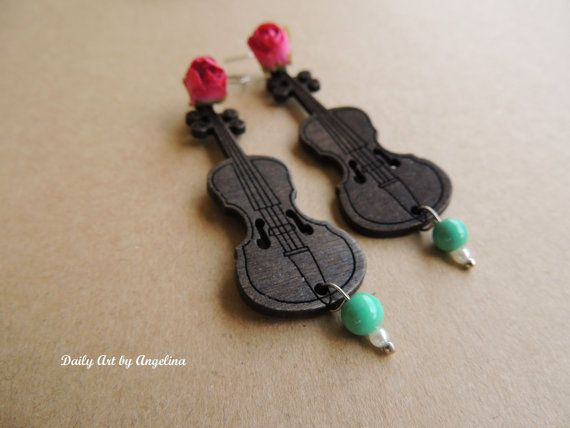 Brown violin dangle earrings by DailyArtbyAngelina on Etsy