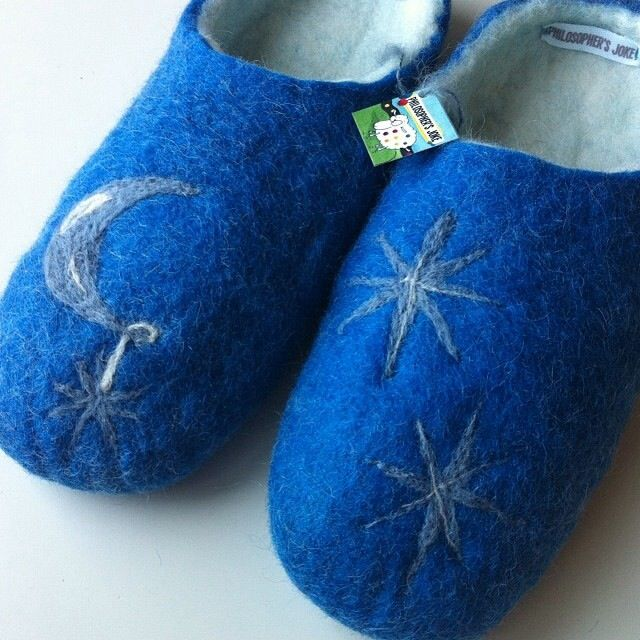 Fly me to the moon...  Handmade felted slippers by Philosopher's Joke.