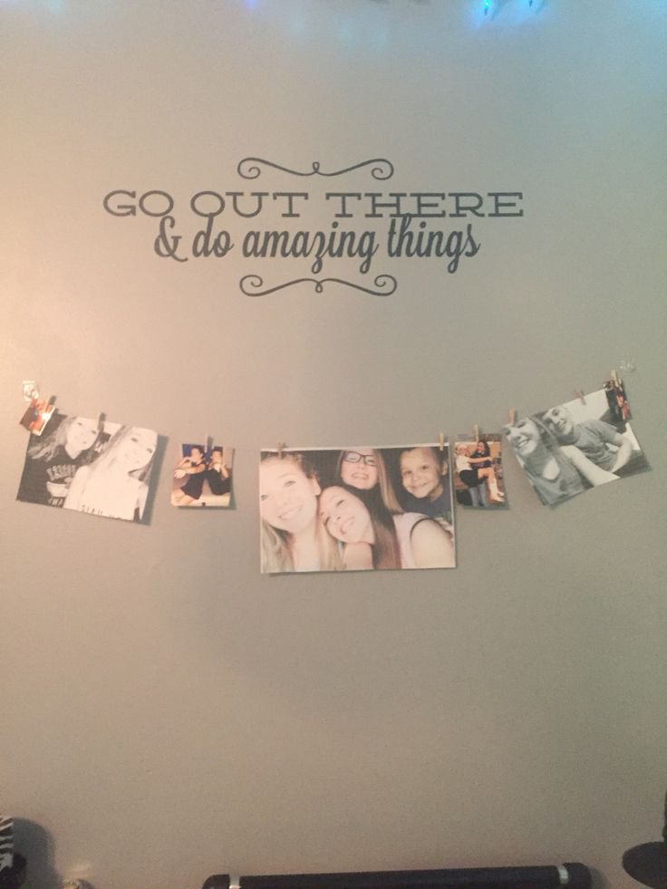 Teen room ideas. I used clear string and clear commando strips then a vinyl decal I bought easy and wall is protected