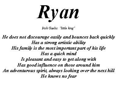 what does the name ryan mean in hebrew