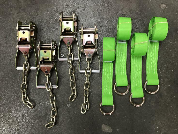 Chain Ratchets & 8' Lasso Wheel Lift Straps Tie Down Kit