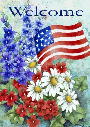 "Toland Home Garden 102060 Patriotic Welcome House Flag by Toland Home Garden. $16.28. 28 by 40-inch. Heat sublimated to permanently dye fabric. Machine washable; UV, mildew, and fade resistant. Licensed art. 600 denier polyester. This Patriotic Welcome House Flag will make a statement hanging from your front porch or in your garden this season. Featuring artwork by Elena Vladykina, a patriotic floral bouquet adorned with Old Glory herself, reading ""Welcome"" across the top this f..."