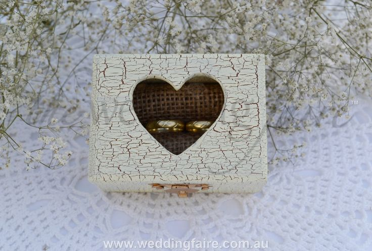 Colour Made to Order - Ivory Crackle Heart Window Rustic Ring Box - Burlap Insert - The Wedding Faire