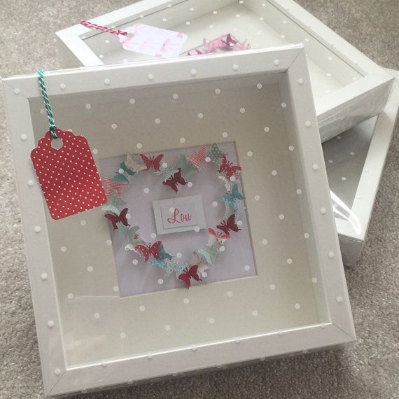 3d effect butterfly heart box frame by Emmyloucrafts on Etsy