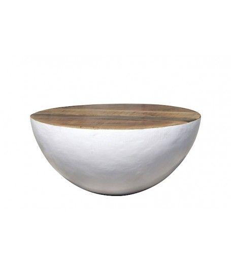 Bowl salontafel metaal/hout By Boo. Halen bij www.ruederosa.nl