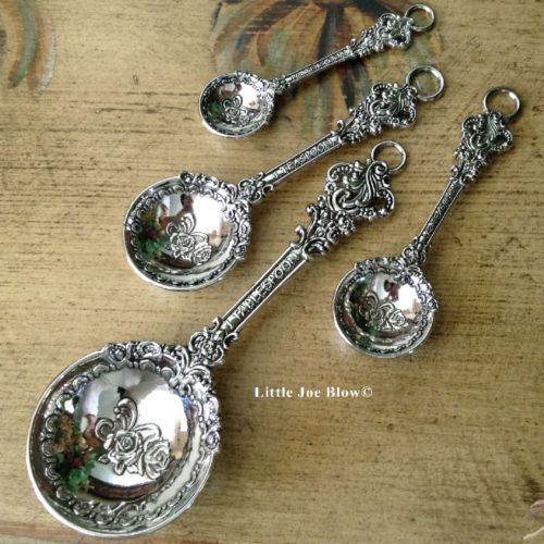 Victorian-Metal-Measuring-Spoons-Set-leather-strap-included-Free-Shipping