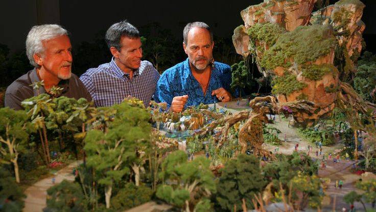 """""""Avatar"""" writer/director/producer James Cameron, Disney Chief Operating Officer Tom Staggs and Disney Imagineer Joe Rohde look at a scale model of Avatar Land, which is currently under construction at Disney's Animal Kingdom.Scale model"""