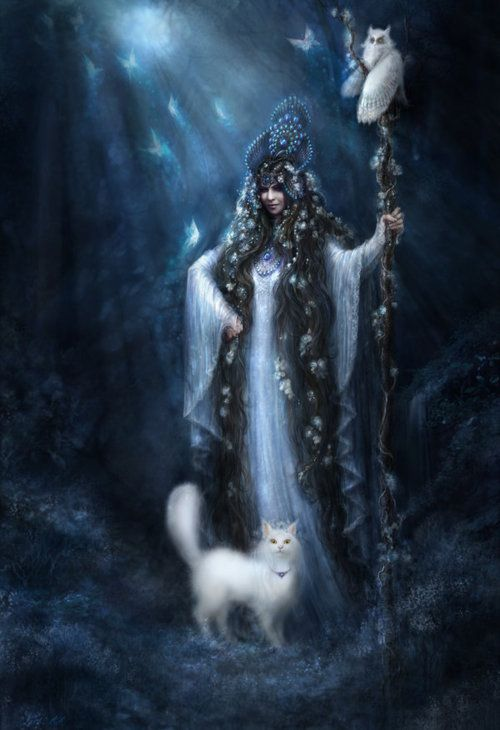 Celtic Goddess Cerridwen and her Staff with her cat always by her side and the Owl, always watching