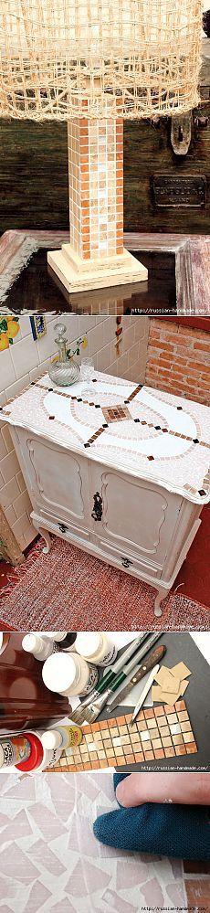 Лампа и Кухонный буфет с применением мозаики. Мастер-классы