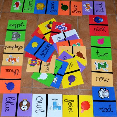 Domino de animales, números y colores en ingles
