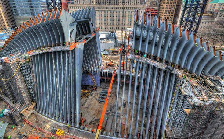construction on santiago calatrava's WTC transportation hub making headway