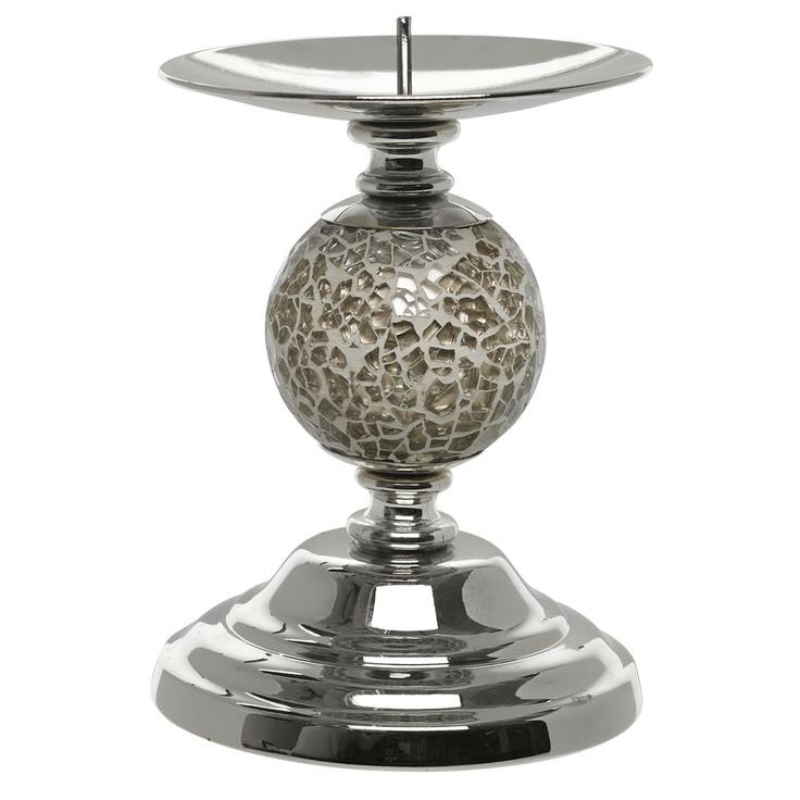 8 wilko mosaic pillar candle holder gold effect reflect. Black Bedroom Furniture Sets. Home Design Ideas