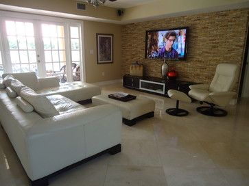Living Room, Fascinating Living Room Interior Featuring Brick Tile Wall Tv  With Pendant Lamp Long Sofa Porcelain Floor Storage Cabinet White Glass  Window ... Part 70