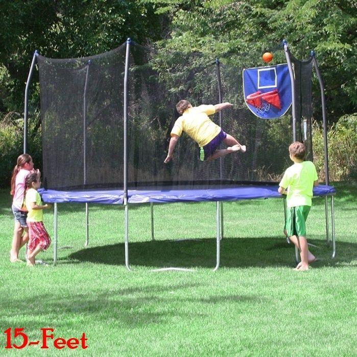 Kids Jumping Trampoline Safety Net Enclosure Basketball Hoop Exercise Round Fun #SkywalkerTrampolines