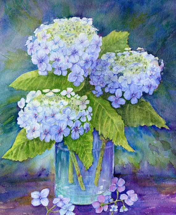 Blue Hydrangeas by AlsopArt on Etsy