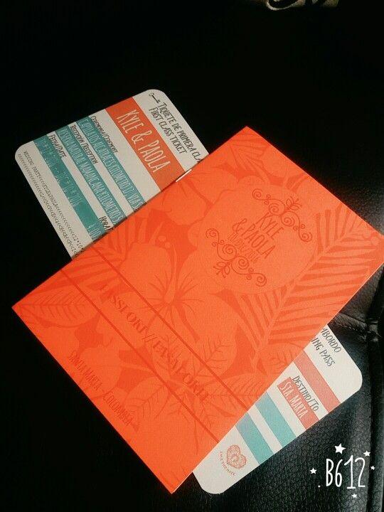 Tarjeta pasaporte y pasabordo boda